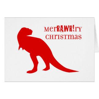 Navidad de T-Rex MerRAWRry Tarjeta Pequeña