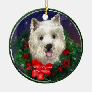 Navidad de Terrier blanco de montaña del oeste Adorno Navideño Redondo De Cerámica