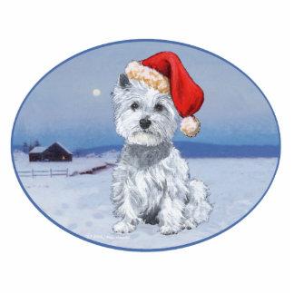 Navidad de Terrier blanco de montaña del oeste Fotoescultura Vertical