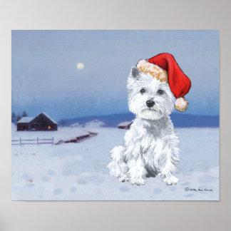 Navidad de Terrier blanco de montaña del oeste Impresiones