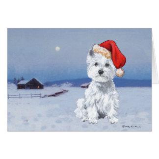 Navidad de Terrier blanco de montaña del oeste Felicitacion