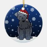 Navidad de Terrier de azul de Kerry del dibujo Adorno Redondo De Cerámica