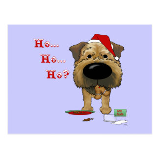 Navidad de Terrier de frontera Tarjetas Postales