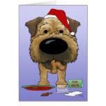 Navidad de Terrier de frontera Tarjeta