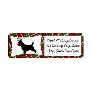 Navidad de Terrier de mojón Etiquetas De Remite