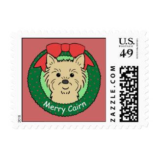 Navidad de Terrier de mojón Timbre Postal