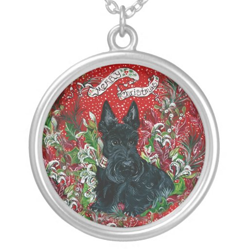 Navidad de Terrier del escocés Colgante Redondo