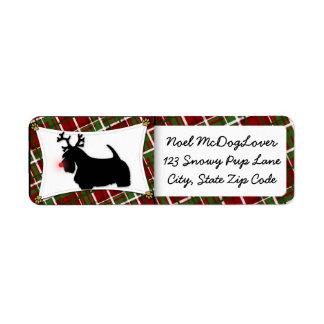 Navidad de Terrier del escocés Etiqueta De Remite