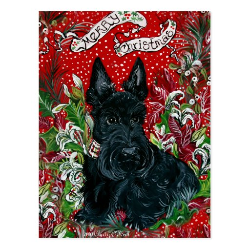 Navidad de Terrier del escocés Tarjeta Postal