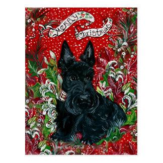 Navidad de Terrier del escocés Tarjetas Postales