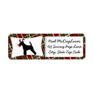 Navidad de Terrier galés Etiquetas De Remite
