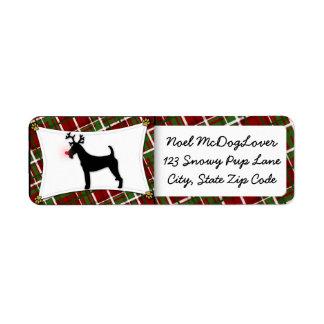 Navidad de Terrier irlandés Etiqueta De Remite