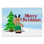 Navidad de un reno de Beary Tarjeta De Felicitación
