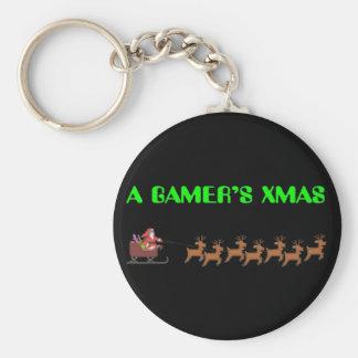 Navidad de un videojugador llavero redondo tipo pin