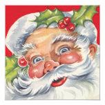 Navidad de Vitnage, Papá Noel alegre con su gorra Invitación 13,3 Cm X 13,3cm