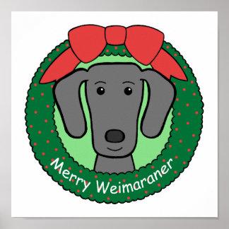 Navidad de Weimaraner Poster