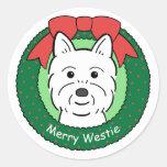 Navidad de Westie Etiquetas Redondas