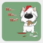 ¿Navidad de Westie - Ho Ho Ho??? Pegatina Cuadradas