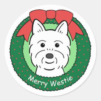 Navidad de Westie Pegatina Redonda
