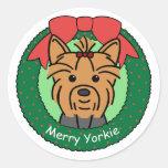 Navidad de Yorkie Etiqueta Redonda