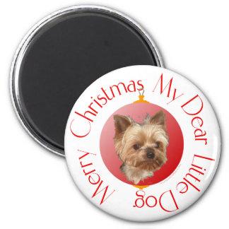 Navidad de Yorkshire Terrier Imán Redondo 5 Cm
