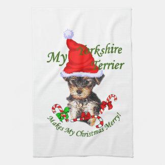Navidad de Yorkshire Terrier Toallas De Cocina