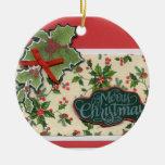 Navidad del acebo adorno redondo de cerámica
