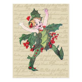 Navidad del acebo de hadas tarjeta postal