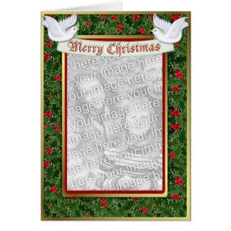 Navidad del acebo y de la paloma tarjeta de felicitación