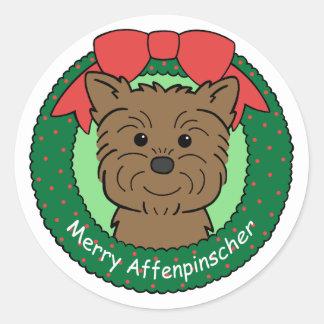 Navidad del Affenpinscher Pegatina Redonda