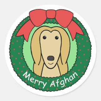 Navidad del afgano etiquetas redondas