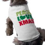 Navidad del amor de la paz camiseta de perro