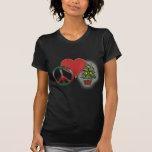 Navidad del amor de la paz camisetas