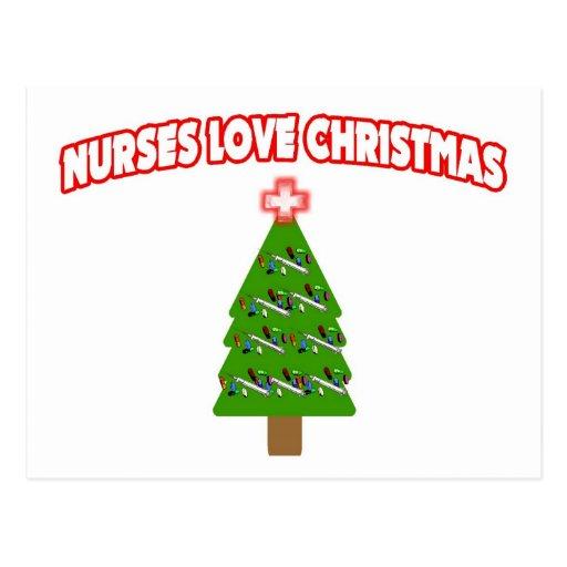 Navidad del amor de las enfermeras postal
