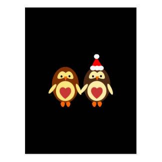 Navidad del amor del búho postal