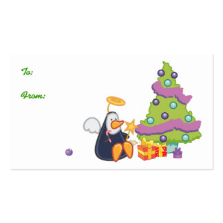 Navidad del ángel del pingüino tarjeta de visita