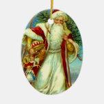 Navidad del arbolado de Papá Noel del vintage de l Adorno