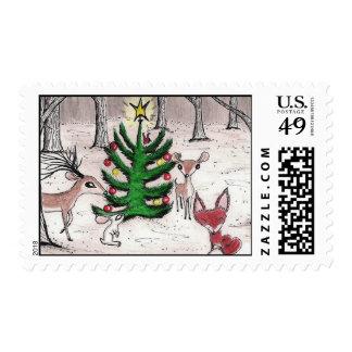 Navidad del arbolado del invierno - franqueo estampillas