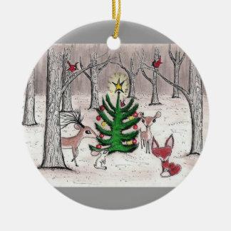Navidad del arbolado del invierno - ornamento adorno navideño redondo de cerámica