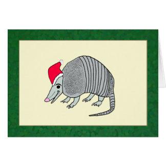 Navidad del armadillo de Santa (frontera verde) Tarjeta De Felicitación