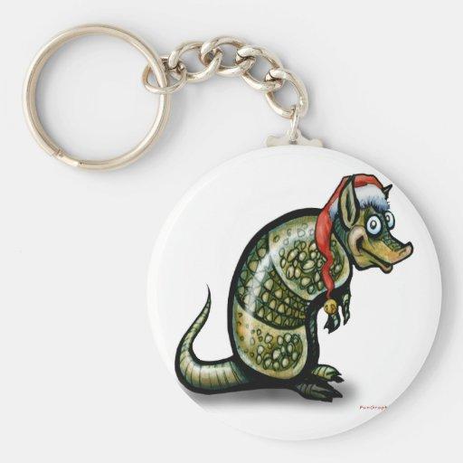 Navidad del armadillo llavero redondo tipo pin
