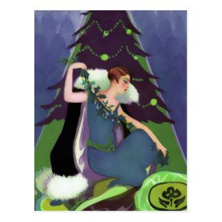 Navidad del art déco, Pascaline en azul, verde y p Postal