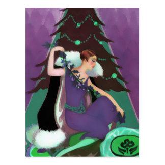 Navidad del art déco, Pascaline en púrpura, trullo Tarjeta Postal