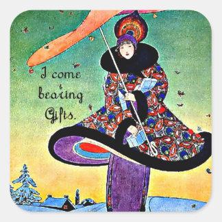 Navidad del art déco calcomanías cuadradass personalizadas