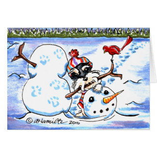 Navidad del arte del muñeco de nieve del Schnauzer Tarjeta De Felicitación