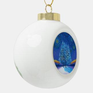 Navidad del azul del estilo de Van Gogh Adorno De Cerámica En Forma De Bola