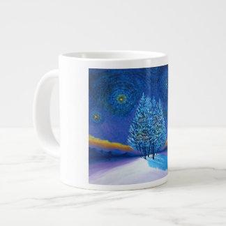 Navidad del azul del estilo de Van Gogh Taza Jumbo