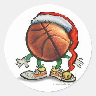 Navidad del baloncesto pegatina redonda