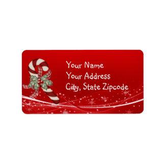 Navidad del bastón de caramelo etiqueta de dirección