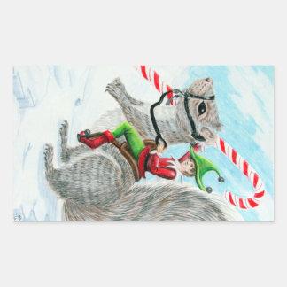 Navidad del bastón de Rasing Rectangular Pegatina